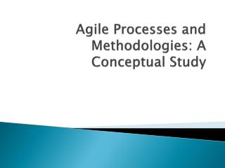 Agile Processes and Methodologies: A Conceptual Study