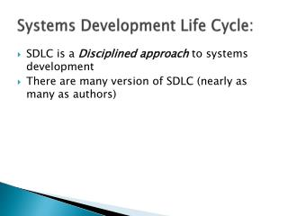 Systems Development Life Cycle: