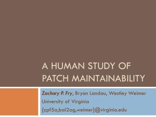 A Human Study of Patch Maintainability