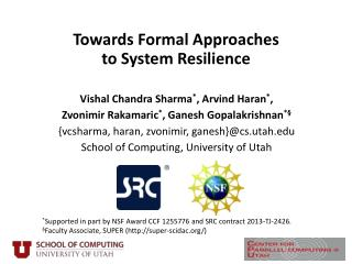Towards Formal Approaches  to  System Resilience