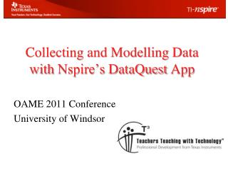 Collecting and Modelling Data  with  Nspire's DataQuest  App