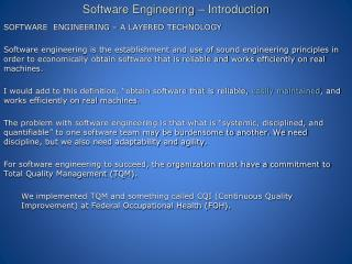 Software Engineering � Introduction