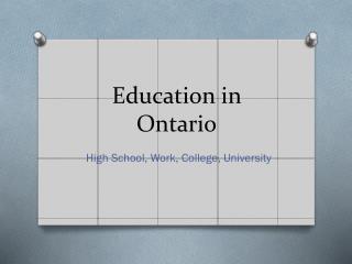 Education in Ontario