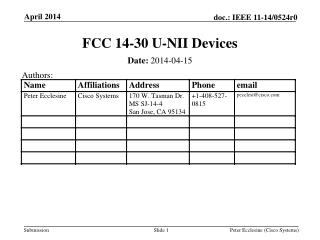 FCC 14-30 U-NII Devices