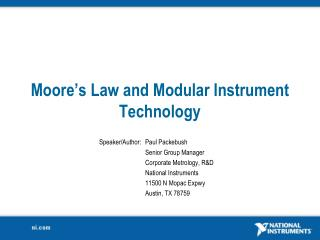 Moore�s Law and Modular Instrument Technology