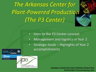 Intro to the P3 Center concept Management and logistics in Year 2 Strategic Goals – Highlights of Year 2 accomplishment