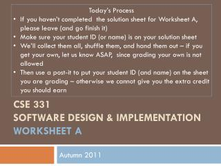 CSE 331 Software Design & Implementation worksheet a