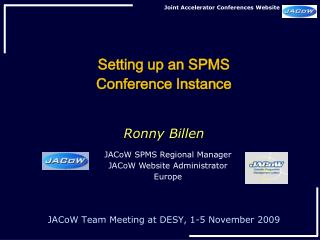 Setting up an SPMS  Conference Instance