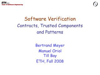 Software Verification Contracts, Trusted Components and  Patterns