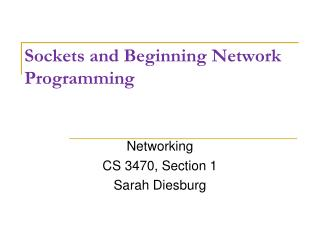 Sockets and Beginning  Network Programming