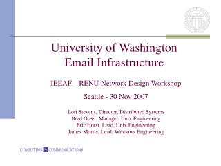 University of Washington Email Infrastructure