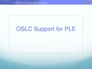 OSLC Support for PLE