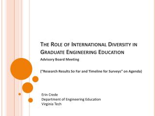 The Role of International Diversity in Graduate Engineering Education
