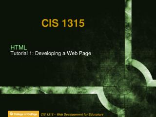 HTML Tutorial 1: Developing a Web Page