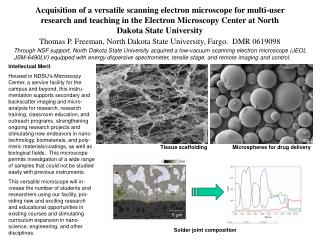 acquisition of a versatile scanning electron microscope for multi-user research and teaching in the electron microscopy