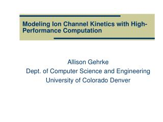 Modeling Ion Channel Kinetics with High-Performance Computation