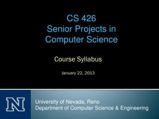 Course Syllabus January 22, 2013