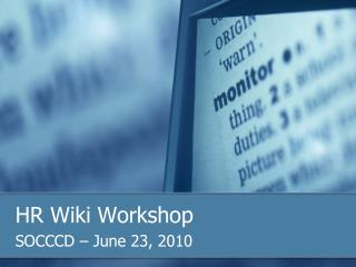 HR Wiki Workshop