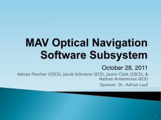 MAV Optical  Navigation Software Subsystem