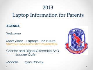 2013  Laptop  Information for Parents