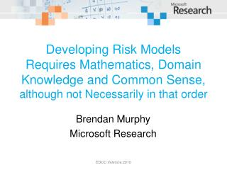 Developing Risk Models Requires Mathematics, Domain Knowledge and Common Sense, although not Necessarily in that order