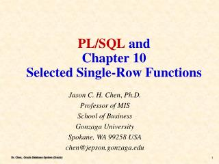 PL/SQL  and Chapter 10 Selected Single-Row Functions