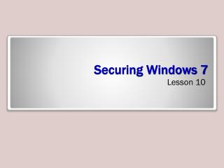 Securing Windows 7