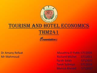 Tourism and Hotel Economics THM241
