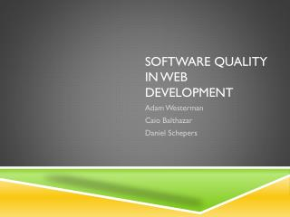 Software Quality in Web Development