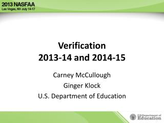 Verification 2013-14 and 2014-15