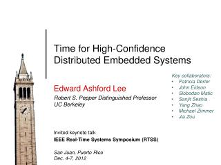 Time for High-Confidence Distributed Embedded Systems