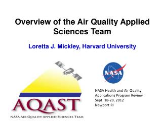 Overview  of  the Air  Quality Applied Sciences Team Loretta J. Mickley, Harvard University