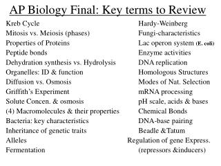 ap biology final: key terms to review