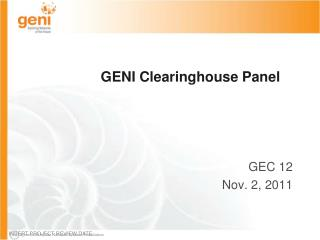 GENI Clearinghouse Panel