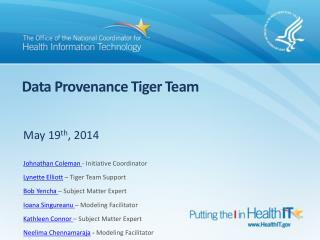 Data Provenance Tiger Team