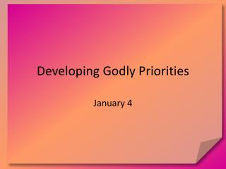 developing godly priorities