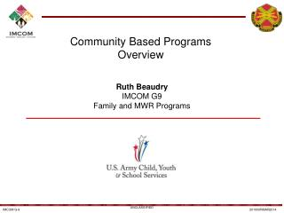 Community Based Programs Overview
