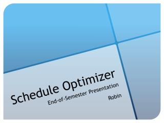 Schedule Optimizer