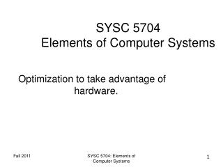 SYSC 5704 Elements of Computer Systems