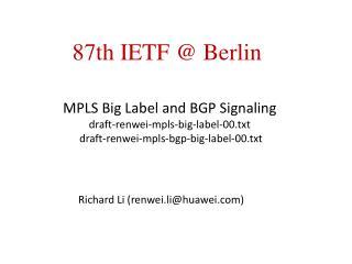 MPLS Big Label and BGP Signaling  draft-renwei-mpls-big-label-00.txt  draft-renwei-mpls-bgp-big-label-00.txt