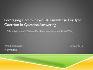 Leveraging Community-built Knowledge For Type Coercion In Question Answering