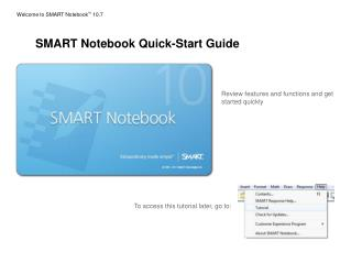 Welcome to SMART Notebook TM  10.7