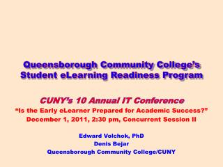 Queensborough Community College's Student eLearning Readiness Program