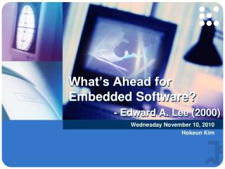 What's Ahead for Embedded Software? - Edward A. Lee (2000)