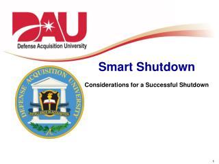 Smart Shutdown Considerations for a Successful Shutdown