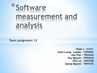 S oftware  measurement and analysis