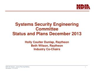 Systems Security Engineering Committee Status and Plans December 2013