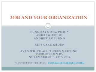 340B AND YOUR ORGANIZATION
