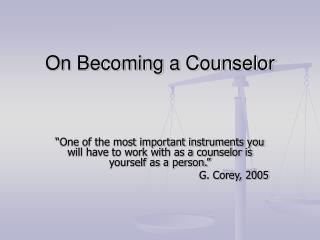 on becoming a counselor
