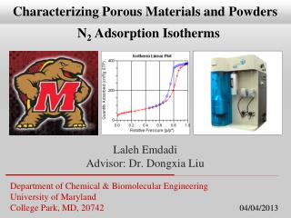 Department of Chemical  &  Biomolecular  Engineering University  of  Maryland College Park, MD, 20742          04/04/20